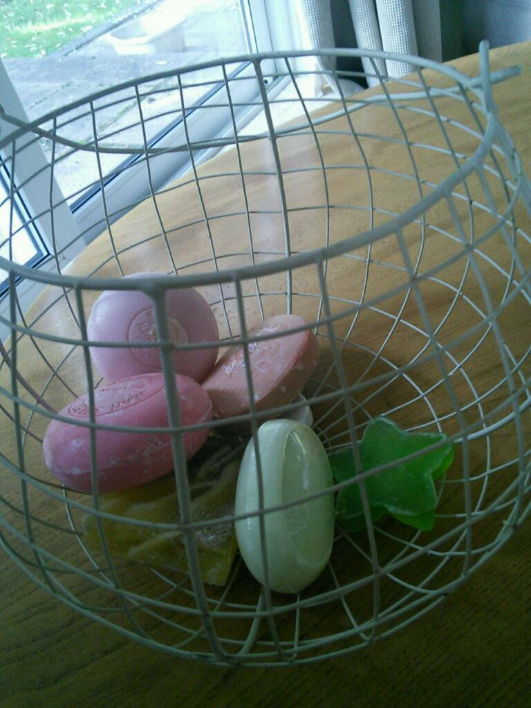 Wire basket with soaps
