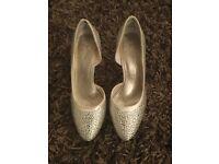 Cream and diamanté bridal shoes