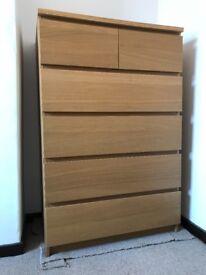 6-drawer chest of drawers in oak veneer