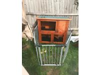 Hutch with metal gated run & accessories great condition