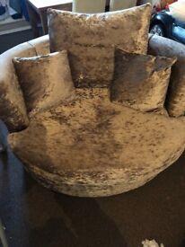 Truffle Crushed Velvet Corner Sofa & Swivel Cuddle Chair