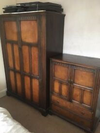 wooden wardrobe and cupboard with draws