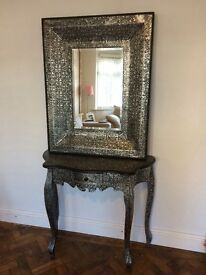 Ornate table and mirror set