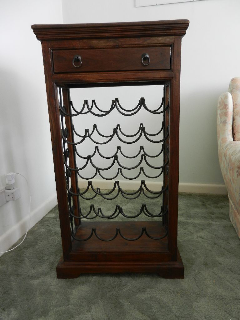 Decorative dark wood & wrought iron wine rack to hold 24 bottles ...
