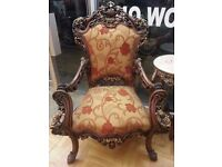 DELUXE ITALIAN RED ROSE PATTERN STYLE ANTIQUE SOFA SETTEE SALON CHAIR