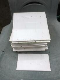Wall Tiles in white (20) plus a half one in good condition. FREE