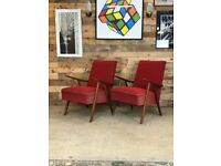 Mid Century Czech High Back Lounge Chairs in Red Fabric by UP Zavody, 1960s
