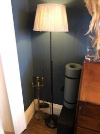 Antique style metal and linen floor lamp