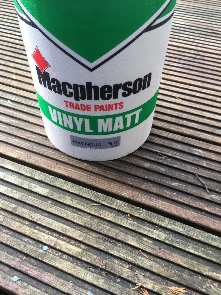 Four 5lt of macfersons magnolia Matt paint