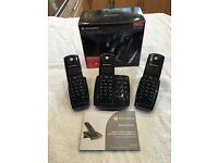 Motorola D4A Triple DEC Digital Cordless Phones (3) with Answering Machine For Sale