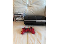 Playstation 3 40gb console with 10 games and red controller backwards compatible
