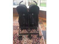 Maclaren Twin Triumph Stroller and raincover