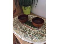 Two small wooden bowls