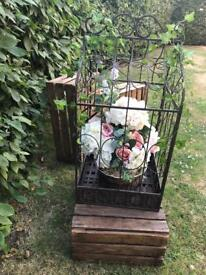 Large Metal Bird Cage with Artificial Flowers - Wedding Decoration
