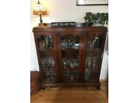 Antique wooden and glass cabinet