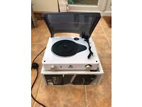 GPO Stylo 3 Speed Stand Alone Turntable Record Player with Built In Speakers (White)
