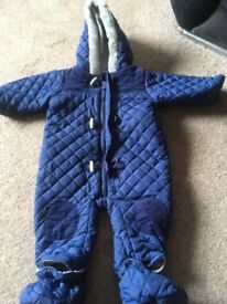 Boys 6-9 month blue padded snow suit, detachable feet