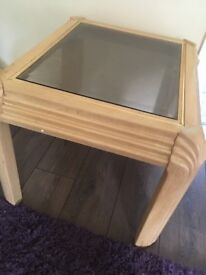 Set of two coffee side tables shabby chic glass