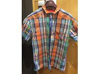 Mens Luke Shirt. Short sleeved, multi coloured,.