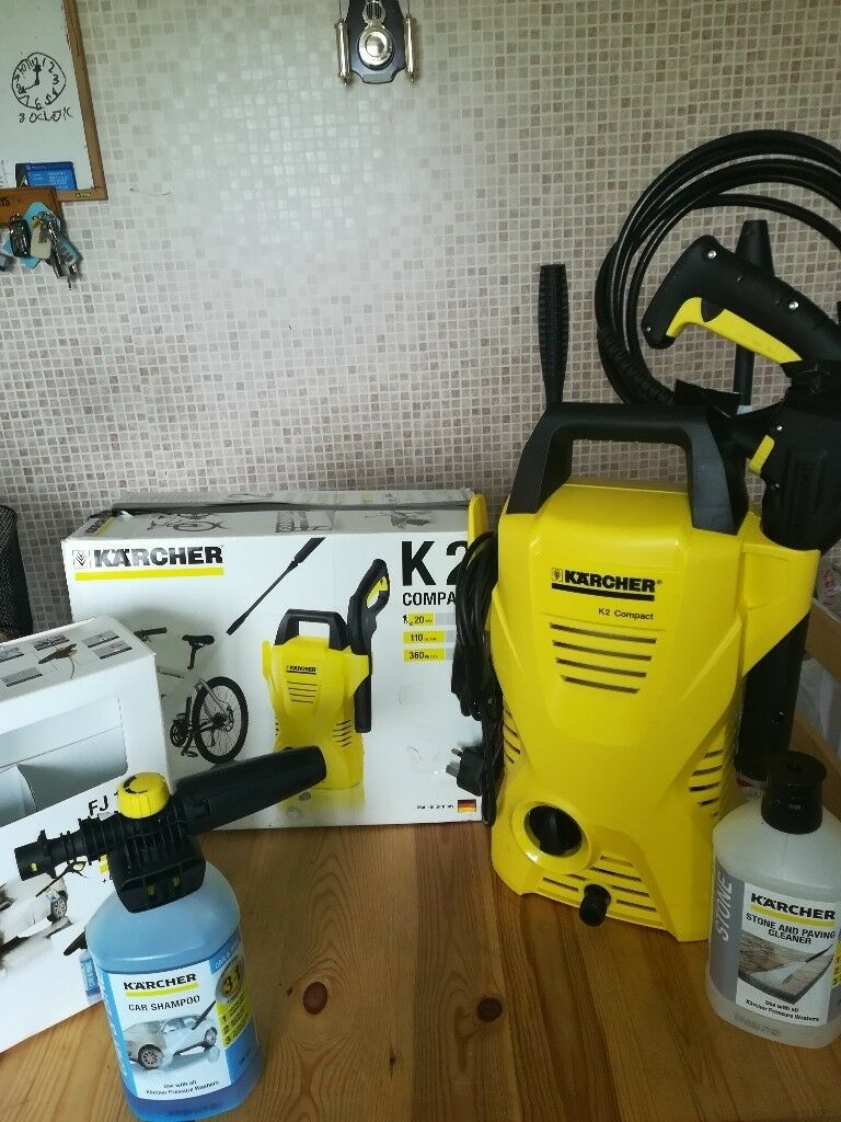 Karcher pressure washer with foam jet connect and clean, car shampoo and stone and paving cleaner.