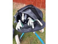 Set of golf clubs and stand bag