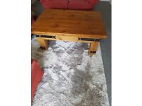 Very heavy large rustic coffee table 122cm x 90 cm height 51cm. Good condition .