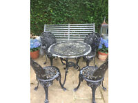 BLACK METAL GARDEN TABLE AND FOUR CHAIRS