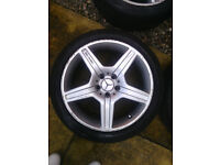 """18"""" AMG MERCEDES BENZ ALLOYS AND TYRES FOR CLK C/E CLASS CLS"""