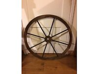 Decorative wooden cart wagon wheel 81cm (32 inch) diameter lightweight burntwood as new