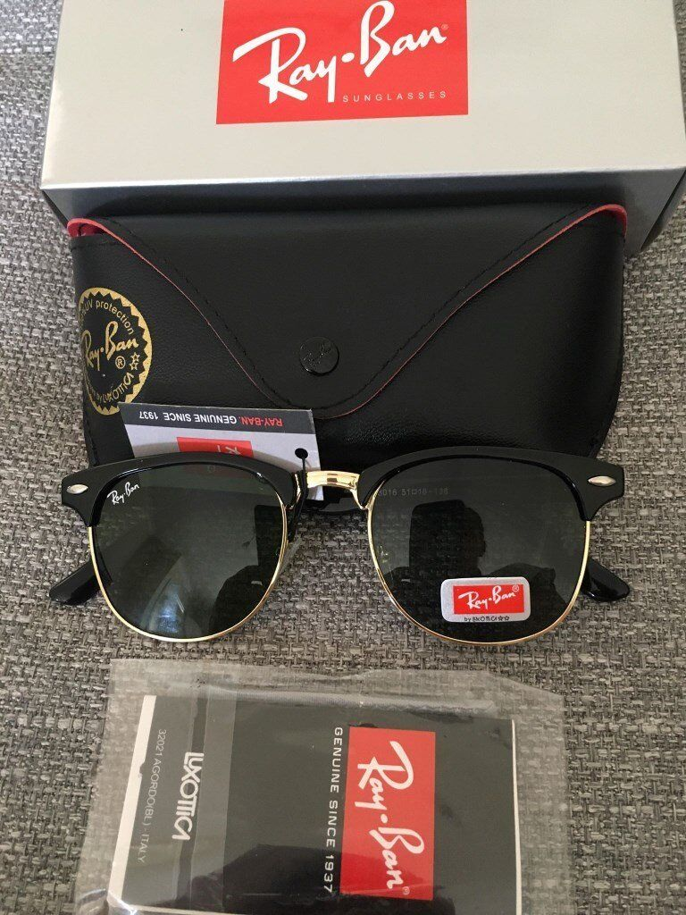 1f04a8bd785 Ray ban clubmaster sunglasses black gloss green lens brand new in ...