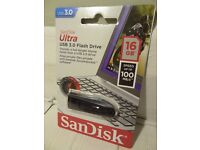 SANDISK ULTRA USB 3.0 FLASH DRIVE 16GB / NEW & SEALED / PAY PAL / SECURE POSTAGE.