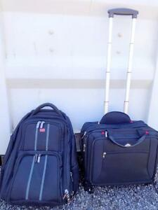 2 NEARLY NEW TRAVEL BAGS; Both Black and Red; BACKPACK & ROLLING BRIEFCASE Mint - Oakville 905 510-8720