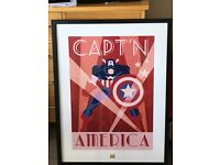 CAPT'N AMERICA MARVEL COMICS LARGE FRAMED POSTER