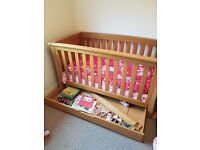 Solid Oak Cot Bed and Chest of Drawers - Mamas and Papas