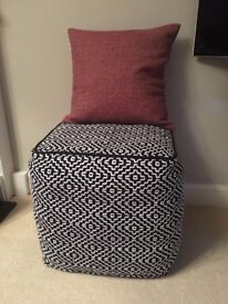 Monochrome Patterned Black and White Footstool / Pouffe (Habitat)