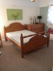 Antique pine double bed - strong construction