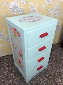 Shabby chic painted & decoupaged chest of drawers / bedside cabinet