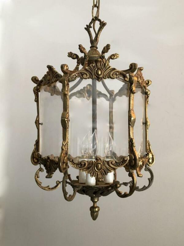 ANTIQUE VTG EUROPEAN BRASS & PLEXI GLASS PETITE LANTERN CHANDELIER HANGING LAMP