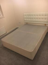 King Size Bed Base & leather headboard