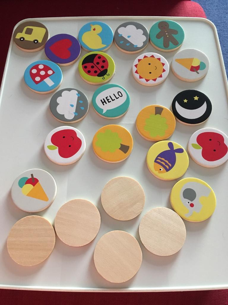 Toddlers wooden sorting tiles