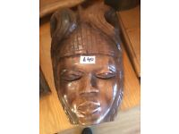 Wooden Mask , in good condition . Size height 12 in width 8 in feel free to view