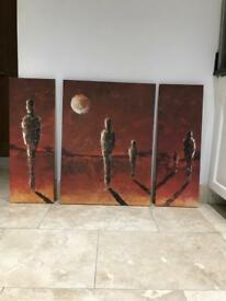 Burnt orange 3 piece wall art