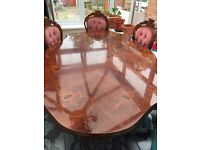 Dining Table including 6 Chairs (2 Chairs with arm rest) - Used (Collect only)