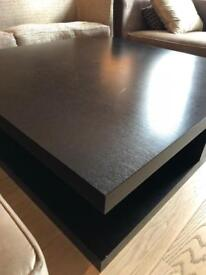Large Two-Tier Coffee Table | Black | Solid Wood | Delivery Avail