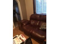 3 Seater Brown Leather recliner sofa free for uplifting