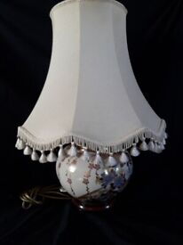 Chinese signed porcelain on mahogany plinth table lamp