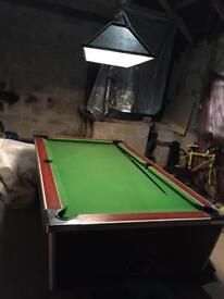Full size pool table and light
