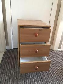 Pine wood bedside table