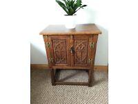Vintage/Antique Oak Carved Double Door Cabinet