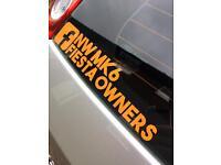 Ford Fiesta Mk6 club sticker north west owners